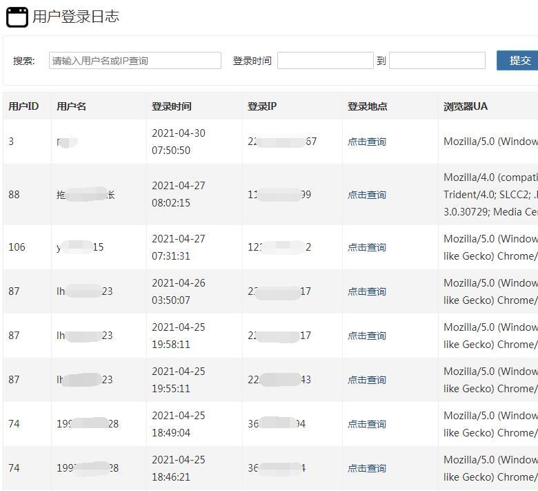 ZBlog插件《用户登录日志》记录登录时间、IP和UA